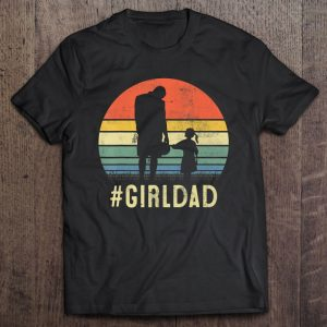 #girldad father and daughter silhouette vintage version shirt